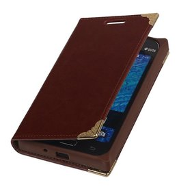 TPU Map Book Type Case for Galaxy J1 J100F Brown
