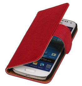 Washed Leer Bookstyle Hoes voor Galaxy S4 mini i9190 Roze