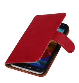 Washed Leer Bookstyle Hoes voor Galaxy S i9000 Roze
