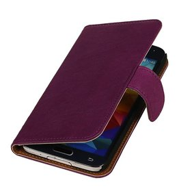 Washed Leather Bookstyle Case for Galaxy Core II G355H Purple