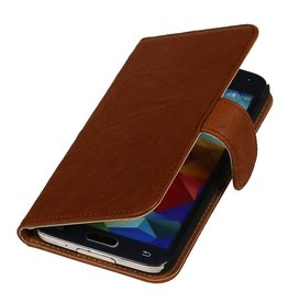 Washed Leather Bookstyle Case for Galaxy Ace Plus S7500 Brown