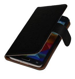 Washed Leer Bookstyle Hoes voor HTC Desire 700 Zwart