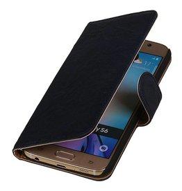 Washed Leather Bookstyle Case for Nokia Lumia X Dark Blue