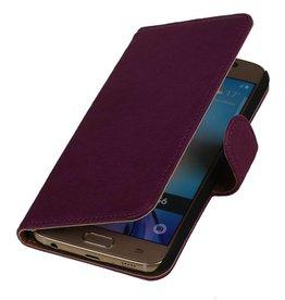 Gewaschenem Leder-Buch-Art-Fall für Nokia Lumia X Lila