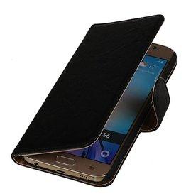 Gewaschenem Leder-Buch-Art-Fall für Nokia Lumia X Schwarz