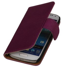 Washed Leer Bookstyle Hoes voor LG G3 Mini Paars