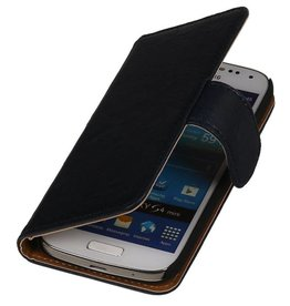 Washed Leather Bookstyle Case for LG L65 Dark Blue