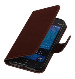 TPU Bookstyle Case for Galaxy J1 J100F Brown