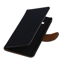 Washed Leather Bookstyle Case for Galaxy J1 J100F Dark Blue