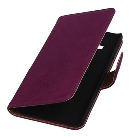 Washed Leather Bookstyle Case for Galaxy J1 J100F Purple