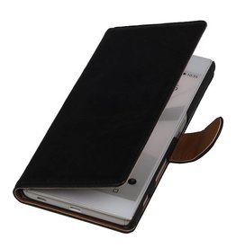 Washed Leather Bookstyle Case for Sony Xperia Z4 mini Black