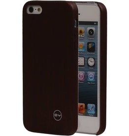 QY Hout Design Dunne TPU Cover voor iPhone 5 Donker Bruin