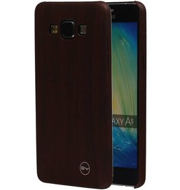 QY Hout Design Dunne TPU Cover voor Galaxy A5 DonkerBruin