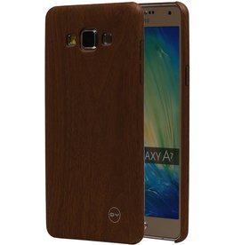 QY Hout Design Dunne TPU Cover voor Galaxy A7 Bruin