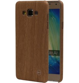 QY Wood Design Thin TPU Cover for Galaxy A7 Light Brown