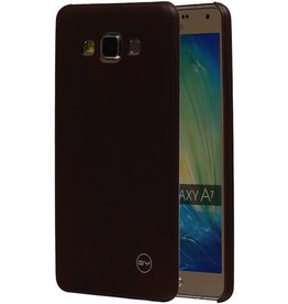 QY Hout Design Dunne TPU Cover voor Galaxy A7 DonkerBruin