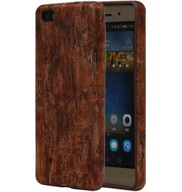 Wood Look Design TPU Cover for Huawei P8 Leaves Warm Brown