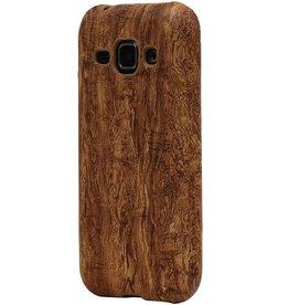 Houtlook Design TPU Hoes voor Galaxy S6 G920F Bruin