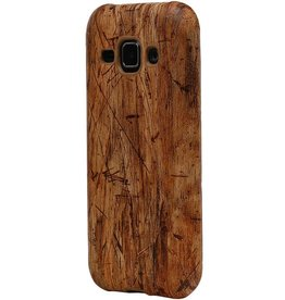 Wood Look Design TPU Cover for Galaxy S6 G920F Light Brown
