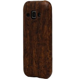 Wood Look Design TPU Cover for Galaxy S6 G920F Dark Brown