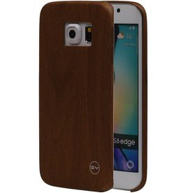 QY Wood Design Thin TPU Cover for Galaxy S6 Edge Brown