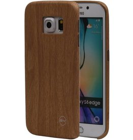 QY Wood Design Thin TPU Cover for Galaxy S6 Edge Light Sweater
