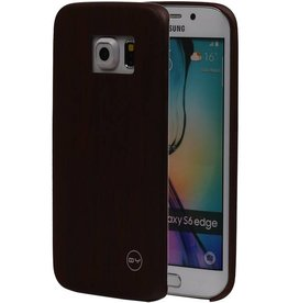 QY Wood Design Thin TPU Cover for Galaxy S6 Edge D. Brown
