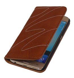 Gewaschene Ledermappe Kasten für Huawei P8 Brown