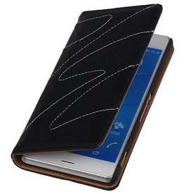 Washed Leather Map Case for Xperia Z3 Black