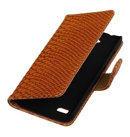 Snake Bookstyle Case for Huawei Ascend Y560 / Y5 Brown