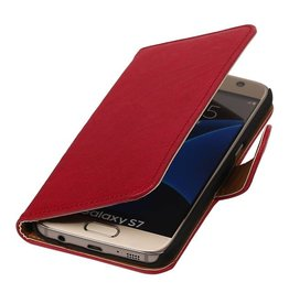 Washed Leather Bookstyle Case for Galaxy S7 G930F Pink