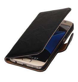 Washed Leer Bookstyle Hoes voor Galaxy S6 G920F Zwart