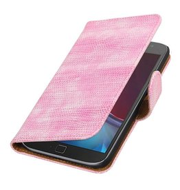 Lizard Bookstyle Cover for Moto G4 / G4 Plus Pink