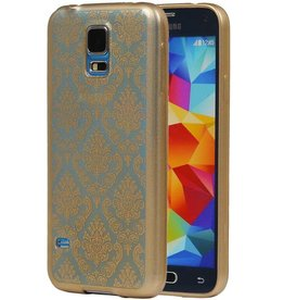 TPU Paleis 3D Back Cover for Galaxy S5 G900F Goud