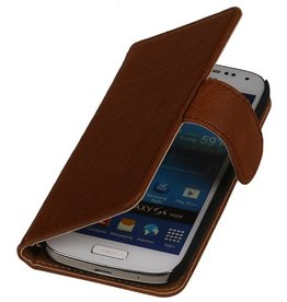 Washed Leather Bookstyle Case for Huawei Ascend G730 Brown
