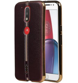 M-Cases Leather Look TPU Case for Moto G4 Brown