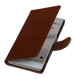 Washed Leather Bookstyle Cover for HTC Eye Brown