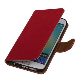 Washed Leather Bookstyle Case for Galaxy S6 Edge G925F Pink