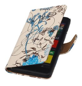Flower Bookstyle Case for Microsoft Lumia 640 Blue