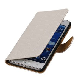 Croco Bookstyle Hoes voor Galaxy Core II G355H Wit