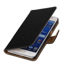 Croco Bookstyle Hoes voor Galaxy Core II G355H Zwart