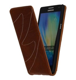 Washed Leather Flip Case for Galaxy A5 Brown