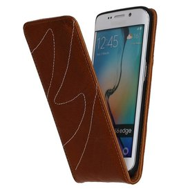 Washed Leather Flip Case for Galaxy S6 Edge G925F Brown