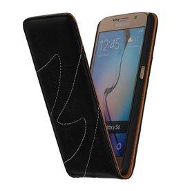 Gewaschenem Leder Flip Case für Galaxy S6 G920F Schwarz