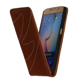 Washed Leather Flip Case for Galaxy S6 G920F Brown