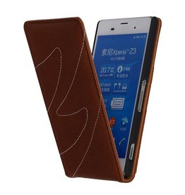 Washed Leather Flip Case for Xperia Z3 Mini Brown