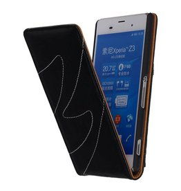 Washed Leather Flip Case for Xperia Z3 Black