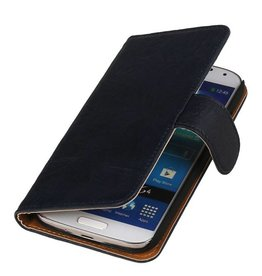 Washed Leer Bookstyle Hoes voor HTC One E8 Donker Blauw