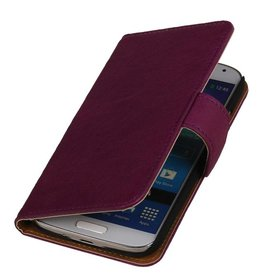 Washed Leather Bookstyle Case for HTC One E8 Purple