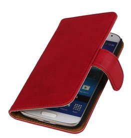 Washed Leather Bookstyle Case for HTC One E8 Pink